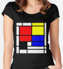 Mondrian style art deco design in basic colors Women's Fitted Scoop T-Shirt