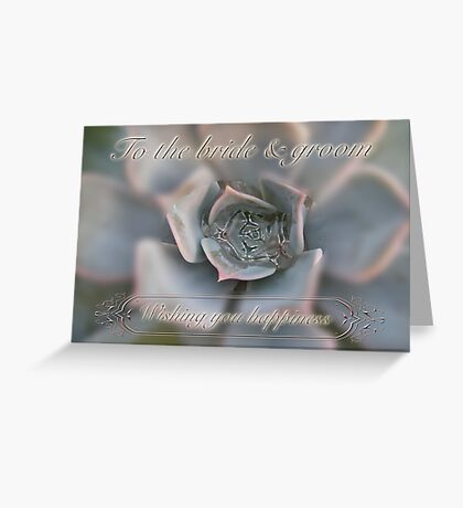 Wedding Happiness Wishes to Bride and Groom - Succulent Greeting Card