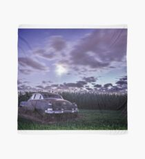 An old rusty 50's caddy in the moonlight by a cornfield Scarf