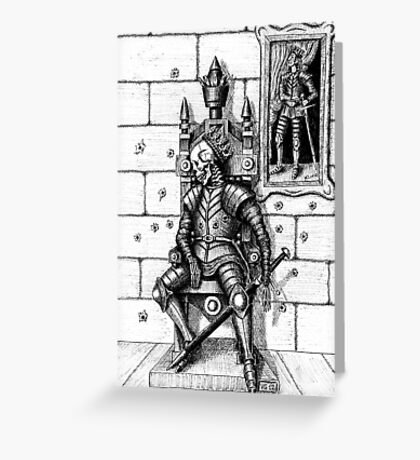 End of the King surreal black and white pen ink drawing Greeting Card