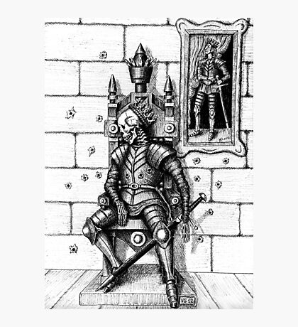 End of the King surreal black and white pen ink drawing Photographic Print