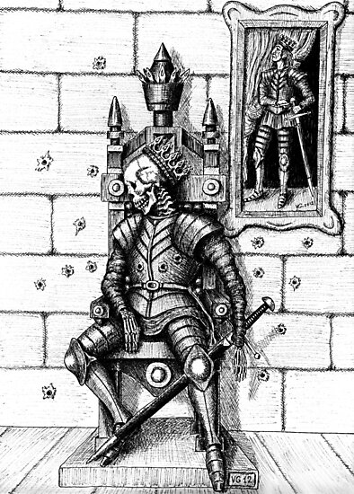 End of the King surreal black and white pen ink drawing by Vitaliy Gonikman