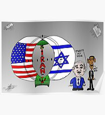 Venn Diagram Cartoon of The US Israel and Iran Poster