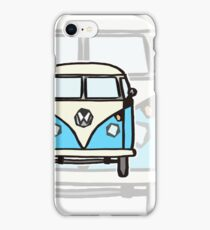 Blue White Campervan (slightly cubist) iPhone Case/Skin