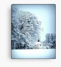 llynon house in snow Canvas Print