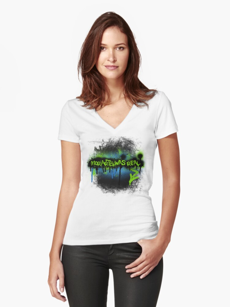 Moriarty was real (electric) Women's Fitted V-Neck T-Shirt Front
