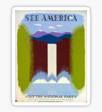 Colorful Vintage Waterfall and Mountains WPA Sticker