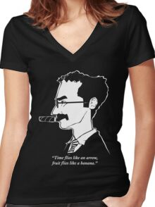 Groucho Marx flies like a t-shirt Women's Fitted V-Neck T-Shirt