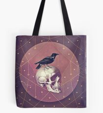 Crow and Skull Collage Tote Bag
