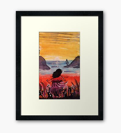 On the bluff, watercolor Framed Print