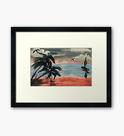 Cloudy day, waterolor Framed Print