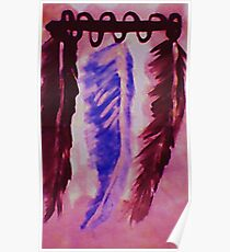 Feather display, Southwestern theme, watercolor Poster