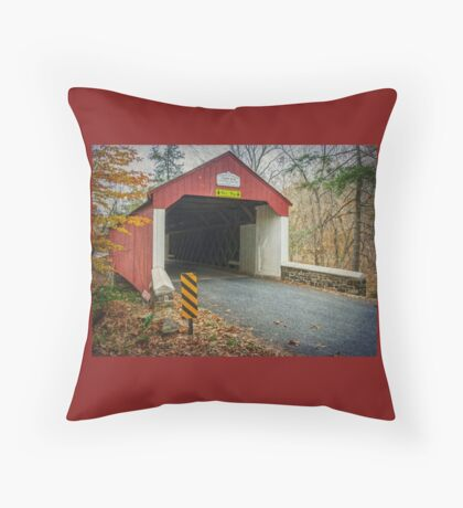 Cabin Run Covered Bridge Throw Pillow