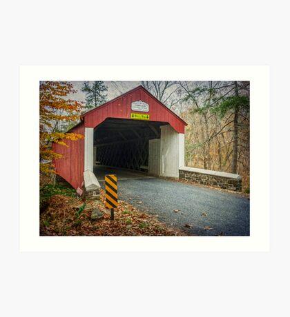 Cabin Run Covered Bridge Art Print