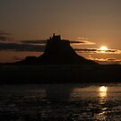 Lindisfarne Castle Moon Rise by Dave Hudspeth