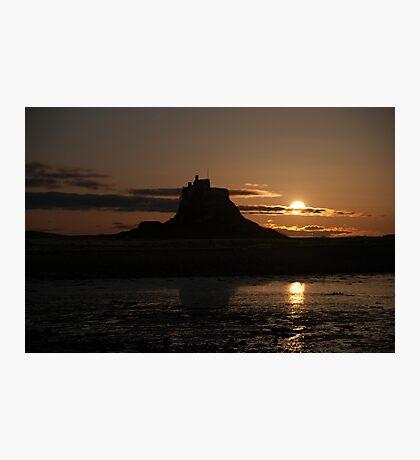 Lindisfarne Castle Moon Rise Photographic Print
