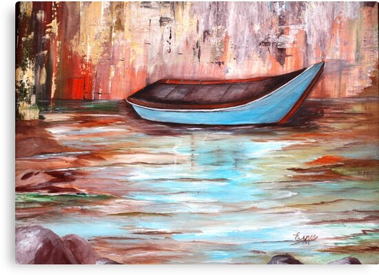 THE BOAT-Acrylic painting by Esperanza Gallego