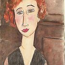 Watercolour study - Portrait of a women by Modigliani by Gary Shaw