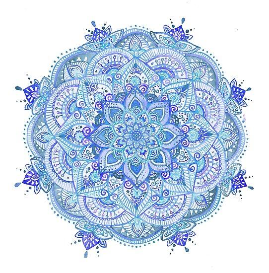 Watercolour mandala blue by Meghan Dal Masetto