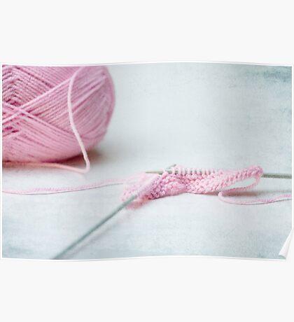 pink knitting Poster