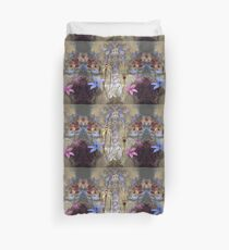 Silky Blue & Orchids with Blue Rusty Metal, native orchids of Western Australia. Duvet Cover