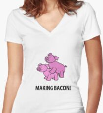 Making Bacon Women's Fitted V-Neck T-Shirt