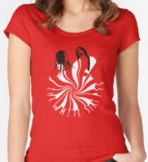 Candy Cane Children (on red) Women's Fitted Scoop T-Shirt