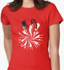 Candy Cane Children (on red) Fitted T-Shirt