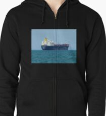 *Freighter leaving the Bay* - Melbourne, Vic. Zipped Hoodie