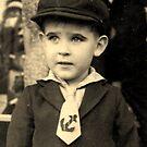 Little boy in a cap; c1944.(I.Hawkins) by Ian A. Hawkins