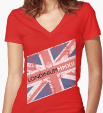 London 2012 - Londinium MMXII Union Jack  Women's Fitted V-Neck T-Shirt