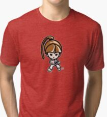 Martial Arts/Karate Girl - Front punch Tri-blend T-Shirt