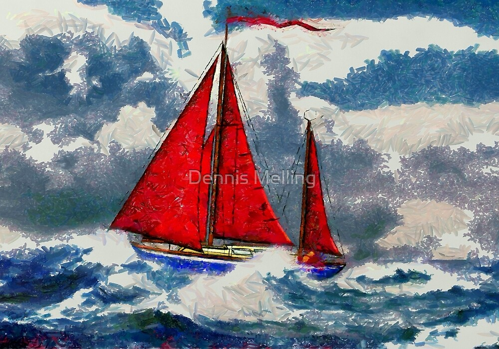 My digital painting of S/Y Magali, My Cutter Rigged Ketch by Dennis Melling