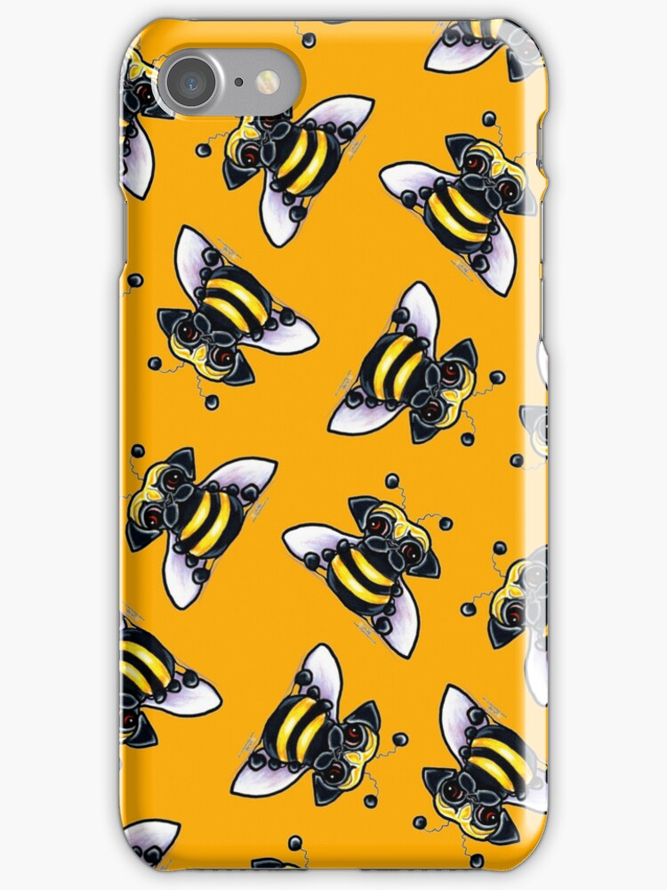 Pug-a-Bee {orange} by offleashart