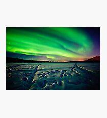 Beach Lake Aurora Photographic Print