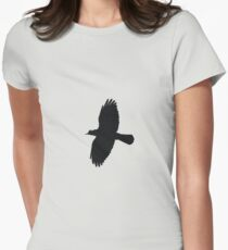 Jackdaw In Flight Silhouette Womens Fitted T-Shirt