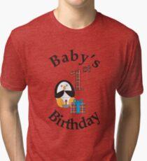 Baby's 1st Birthday Penguin Tri-blend T-Shirt