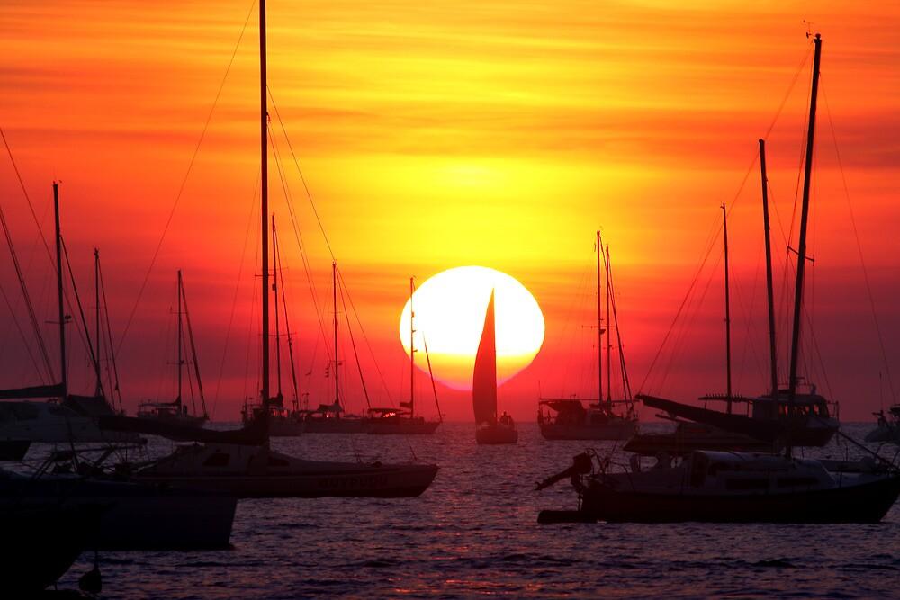 Sunset Sailing Boat by Erik Holt