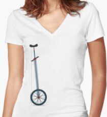 Very Tall Unicycle Women's Fitted V-Neck T-Shirt