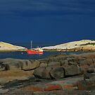 red boat. bicheno, tasmania by tim buckley | bodhiimages