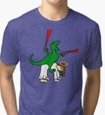 Dinosaur Riding Jesus Tri-blend T-Shirt