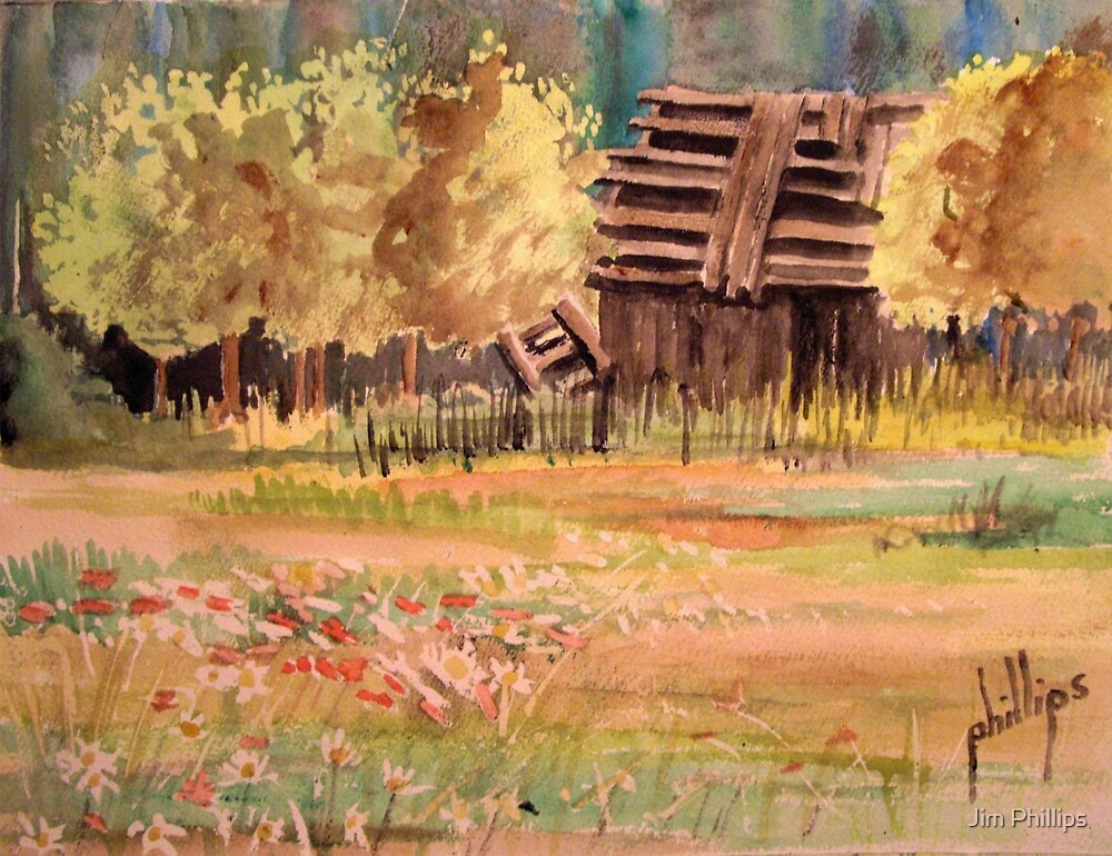 WC Sketch of a Old Barn by Jim Phillips