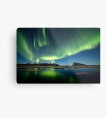 Northern lights over the pond Metal Print