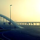 Dawn over a misty bridge by emenica
