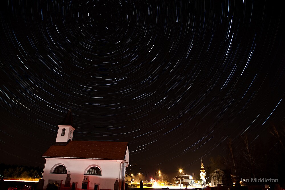 Star trails behind Vodice chapel by Ian Middleton