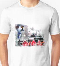 Rail workers on steam locomotive T-Shirt