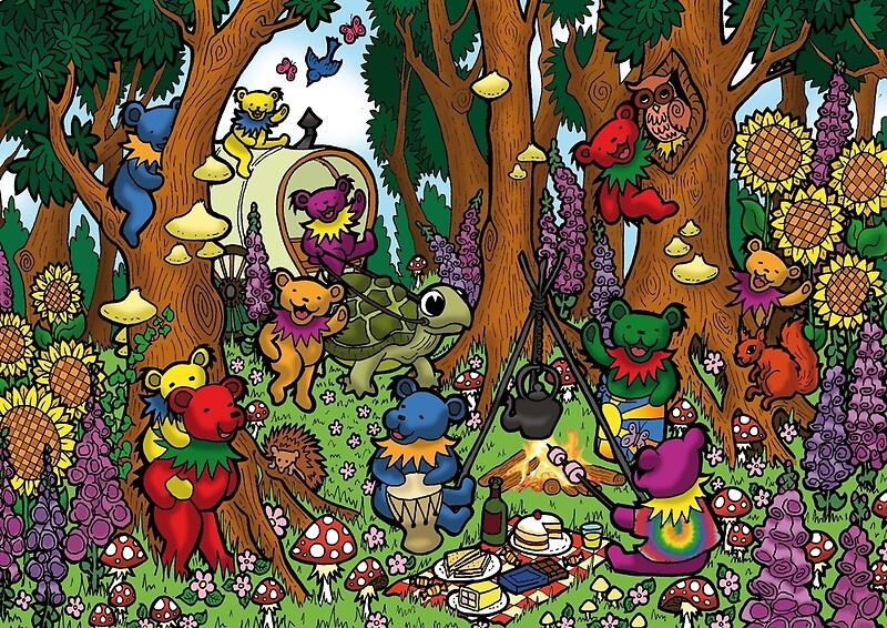 quotgrateful dead dancing bears teddy bear picnicquot art