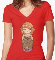 Kokeshi cute Klimt girl Women's Fitted V-Neck T-Shirt