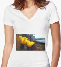 Yellow Women's Fitted V-Neck T-Shirt