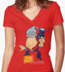 George Shot First Women's Fitted V-Neck T-Shirt